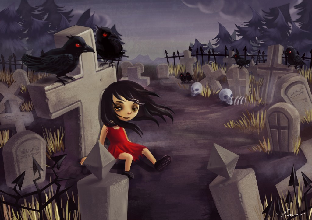 Ravens in the graveyard
